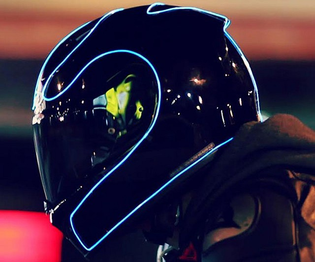 Tron Neon Blue Helmet Multipurpose Light ... & Tron Neon Blue Helmet Multipurpose Light 1meter With Battery Pack ...
