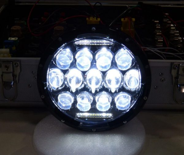 Beamer Series   13 Light LED Headlight For Royal Enfield With DRL