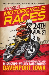 GARAGE POSTER - DEVANPORT IOWA ANTIQUE MOTORCYCLE RACES