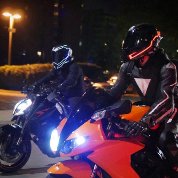 Bull-LEDs | Tron Luminous Helmet Sticker EL Light Stable & Flashing Mode (Pair)